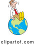 Vector of Cartoon Happy White Businessman Sitting on Top of the World by Johnny Sajem