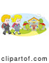 Vector of Cartoon Happy White School KChildren Walking to a Building by Alex Bannykh