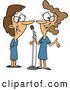 Vector of Cartoon Happy Women Singing a Duet Cartoon by Toonaday