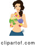 Vector of Cartoon Hawaiian Lady Holding a Coconut by BNP Design Studio