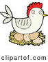 Vector of Cartoon Hen Chicken Nesting by Lineartestpilot
