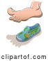 Vector of Cartoon Human Foot Casting a Shadow over a Small Globe Shoe for Earth Overshoot Day by Zooco