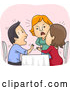 Vector of Cartoon Lady Confronting Her Cheating Boyfriend and Another Lady at a Restaurant by BNP Design Studio