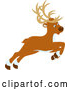 Vector of Cartoon Leaping or Flying Christmas Reindeer by Alex Bannykh