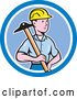 Vector of Cartoon Male Engineer Holding a T Square in a Blue Circle by Patrimonio
