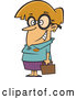 Vector of Cartoon Nerdy Dirty Blond White Lady with Big Glasses, Holding a Briefcase by Toonaday