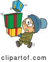 Vector of Cartoon Nervous Kid Carrying Stack of Christmas Presents by Toonaday