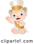 Vector of Cartoon New Year Baby Wearing a Sash and Top Hat by Pushkin