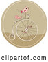 Vector of Cartoon Pink Bird on a Retro Penny Farthing Bicycle in a Brown Circle by Yayayoyo