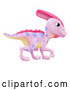 Vector of Cartoon Pink Parasaurolophus Dinosaur by AtStockIllustration