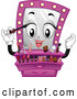 Vector of Cartoon Pink Vanity Mirror Mascot Putting on Makeup by BNP Design Studio