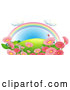 Vector of Cartoon Rainbow over a Hill with Pink Flowers and Butterflies by Graphics RF
