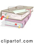 Vector of Cartoon Reading Glasses on Stacked Books with Marked Pages by BNP Design Studio