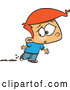 Vector of Cartoon Red Haired Boy Worried About Muddy Shoes by Toonaday
