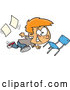 Vector of Cartoon Red Haired White School Boy Running Recklessly Through a Classroom by Toonaday