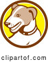 Vector of Cartoon Retro Jack Russell Terrier Dog in a Brown White and Yellow Circle by Patrimonio
