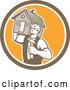 Vector of Cartoon Retro Male Home Bulider Carrying a House and Hammer in a Shield by Patrimonio