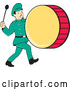 Vector of Cartoon Retro Marching Band Drummer Guy by Patrimonio