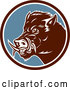 Vector of Cartoon Retro Wild Boar Pig in a Brown White and Blue Circle by Patrimonio
