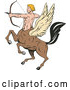 Vector of Cartoon Retro Winged Centaur Archer by Patrimonio