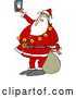 Vector of Cartoon Santa Taking Selfie Picture with Smart Phone by Djart