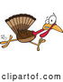 Vector of Cartoon Scared Thanksgiving Turkey Bird Running by Toonaday