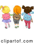 Vector of Cartoon School Girls Wearing Animal Backpacks While Walking Together by BNP Design Studio