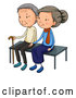 Vector of Cartoon Senior Couple Sitting on a Bench Together by Graphics RF