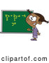 Vector of Cartoon Smart Black School Girl Solfing a Math Equation on a Chalk Board by Toonaday