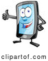 Vector of Cartoon Smart Phone Mascot Giving a Thumb up by Domenico Condello