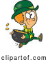 Vector of Cartoon St Patricks Day Leprechaun Boy Running with a Pot of Gold by Toonaday