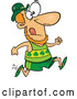 Vector of Cartoon St Patricks Day Leprechaun Running a Marathon by Toonaday
