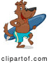 Vector of Cartoon Surfer Dog Carrying a Surfboard by BNP Design Studio