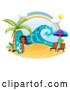 Vector of Cartoon Surfer Girl with a Board on a Beach Under a Rainbow by Graphics RF