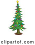 Vector of Cartoon Tall Christmas Tree with Star and Bauble Ornaments by Yayayoyo