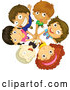 Vector of Cartoon Team of KChildren with Stacked Hands by Graphics RF