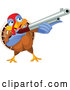 Vector of Cartoon Thanksgiving Turkey Bird Shooting a Rifle by Pushkin