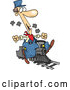 Vector of Cartoon Train Engineer Riding a Small Locomotive by Toonaday
