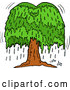 Vector of Cartoon Weeping Willow Tree with Tears by LaffToon