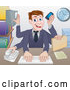 Vector of Cartoon White Businessman Multi Tasking with Many Arms at His Office Desk by AtStockIllustration