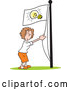 Vector of Cartoon White Businesswoman Running an Idea up the Flag Pole by Johnny Sajem