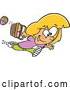 Vector of Cartoon White Girl Running with Eggs in an Easter Basket by Toonaday