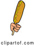 Vector of Cartoon White Hand Holding a Corn Dog with Mustard by LaffToon