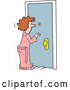 Vector of Cartoon White Lady in a Robe, Looking Through a Peep Hole in a Door by Johnny Sajem