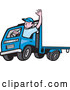 Vector of Cartoon White Male Flatbed Truck Driver Waving by Patrimonio