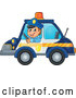 Vector of Cartoon White Male Police Officer Driving a Car by Visekart