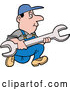 Vector of Cartoon White Worker Guy Running with a Giant Wrench by LaffToon