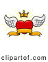 Vector of Cartoon Winged Heart Banner with a Crown and Burst by BNP Design Studio