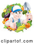 Vector of Cartoon Young Brunette White Male Gardener in Blue, Holding up a Shovel and Giving a Thumb up in a Wreath of Produce by AtStockIllustration