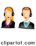 Vector of Caucasian Male and Female Customer Service Avatars by BNP Design Studio
